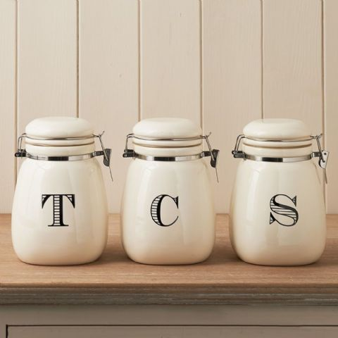 Clip Top Cream T C S Ceramic Tea Coffee Sugar Jars Canisters